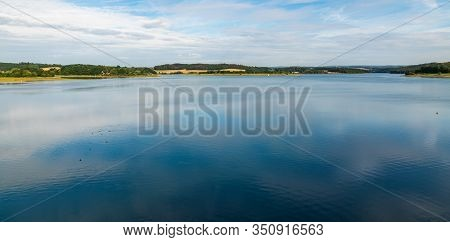 Talsperre Pohl Water Reservoir With Rural Landscape Around Near Plauen Town In Germany