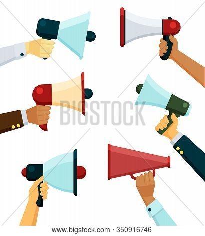 Loudspeaker In Hands. Propaganda Or Promotional Message Announces Hands Holding Megaphones. Vector C
