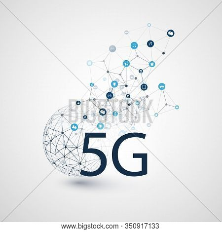5g Network Label With Wireframe Sphere, Mesh And Icons -abstract  Futuristic High Speed, Broadband M