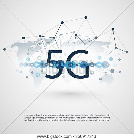 5g Network Label With Polygonal Mesh, Icons And World Map - High Speed, Broadband Mobile Telecommuni