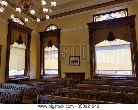May 30, 2019, Findlay, Oh, Vintage Old Fashioned Courtroom Gallery Public Seating Area, Hancock Coun