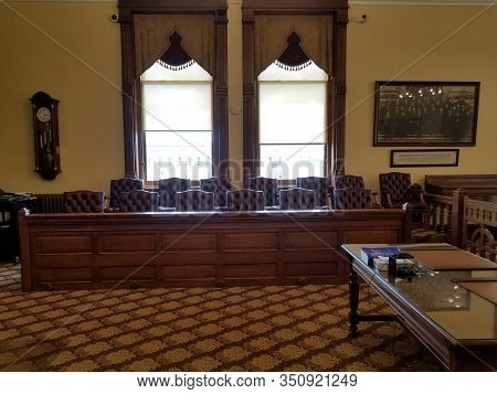 May 30, 2019, Findlay, Oh, Vintage Old Fashioned Courtroom Interior Jury Box, Hancock County Courtho