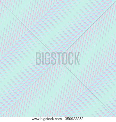 Vector Halftone Seamless Pattern With Diagonal Fading Lines, Zigzag, Chevron. Holographic Gradient T