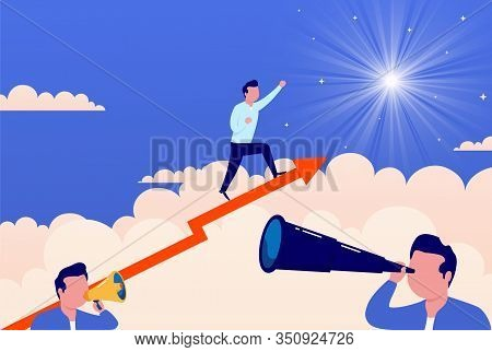 Businessman On Growing Red Arrow Runs Towards His Goal Reaching The Stars. Concept Of Overcoming Dif