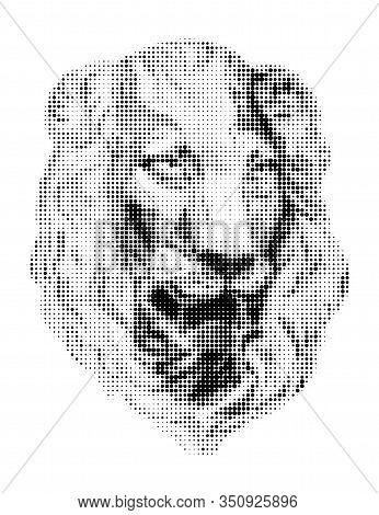 Lion Face . Vector Black Dots On White Background. Digital Pointillism