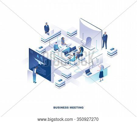 Business Meeting Isometric Landing Page. Concept With Group Of Clerks Or Employees Sitting Around Ta