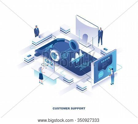 Customer Or Technical Support Service Isometric Landing Page. Concept With Tiny People Working Aroun