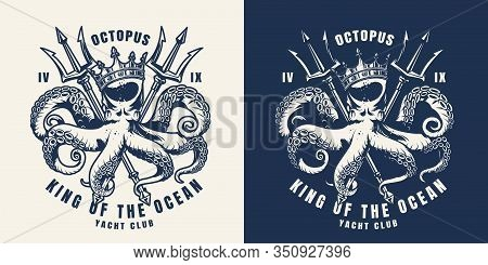 Vintage Nautical Monochrome Print With Octopus In Crown And Crossed Poseidon Tridents Isolated Vecto