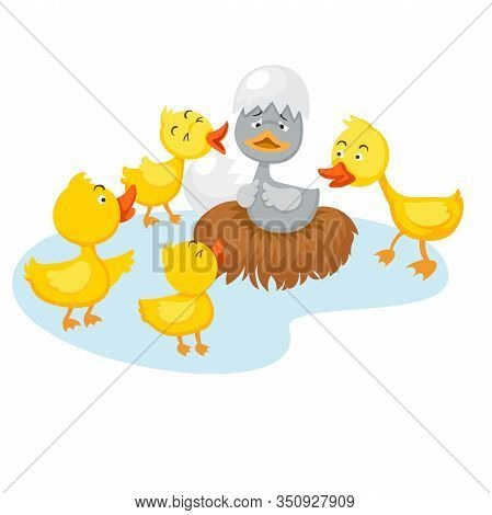 Illustration Of Isolated Fairy Tale Ugly Duckling,vector