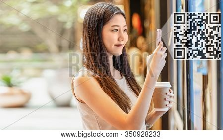 Asian Young Woman Hand Using Smart Mobile Phone Scanning Bar Code And Qr Code To Movie Tickets Machi