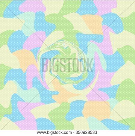 Pastel Vortex Polka Dots Background, Summer Colorful Swirl Baby Pattern Blue, Pink Yellow Orange Gre