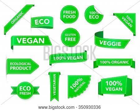 Vegan Badges. Eco Organic Vegetarian Tags, Vegan Health Diet Labels, Vegetarian Products Green Badge