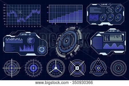 Futuristic Hud Interface. Technological Hud Hologram, Loading Diagnostic Display, Digital Infographi