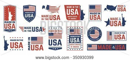 Made In Usa Label. American Flag Emblem, Patriot Proud Nation Labels Icon And United States Label St
