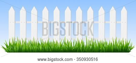 Realistic Wooden Fence. Green Grass On White Wooden Picket Fence, Sunshine Garden Background, Fresh