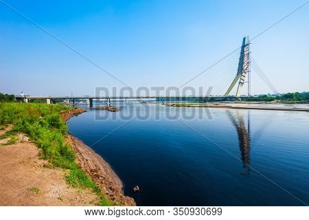 New Delhi, India - October 06, 2019: Signature Bridge Is A Cantilever Spar Cable Stayed Bridge Throu