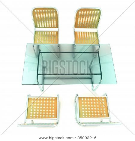 glass table with four steel tube chairs