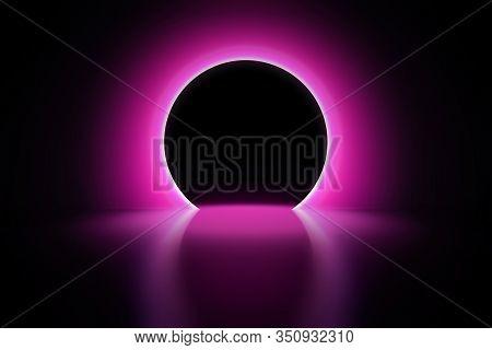 Pink Neon Round Frame. Luminous Swirling Bunner. Shining Circle Light Banner. Glowing Spiral. Light