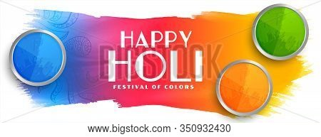 Beautiful Happy Holi Indian Festival Colorful Banner