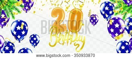 20th Birthday Party Balloons And Decoration Background