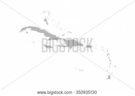 Caribbean Island Map Vector Graphics Design. Gray Background. Perfect For Business Concepts, Backgro