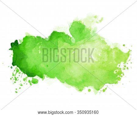 Watercolor Stain Texture In Green Color Shade