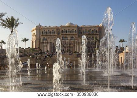 Abu Dhabi, Uae - December 28 2017: Emirates Palace Hotel In Abu Dhabi
