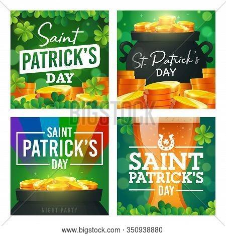 Social Media Post Template On Theme St. Patricks Day. Set Of Banners Square Shape On Theme Patricks