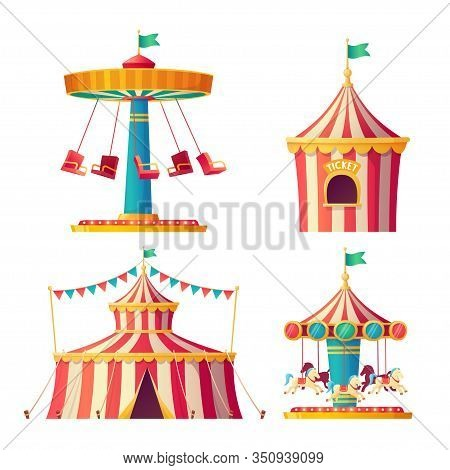 Circus Elements Set. Circus Tent, Carousels, Cashbox On White Background. Vector Illustration