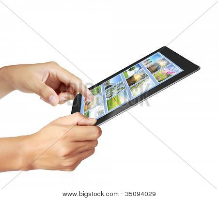 touch tablet concept images streaming in hand