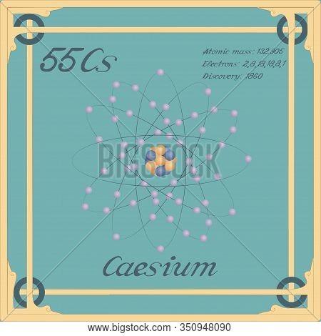 Periodic Table Element. Caesium Colorful Icon. Vector.