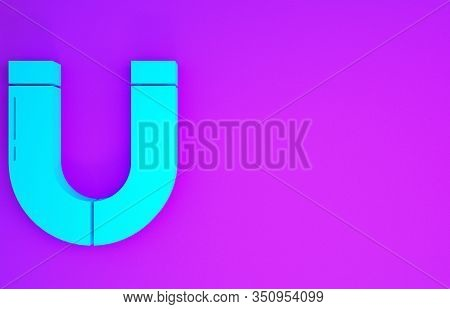 Blue Magnet Icon Isolated On Purple Background. Horseshoe Magnet, Magnetism, Magnetize, Attraction.