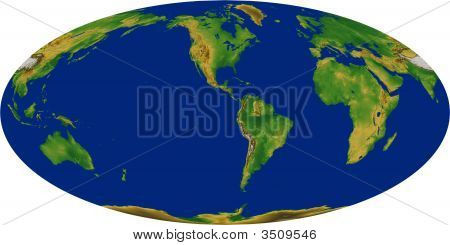World Map In The Mollweide Projection