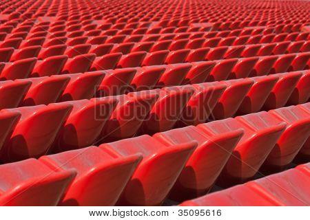 Empty soccer sport stadium bleacher seat chair row