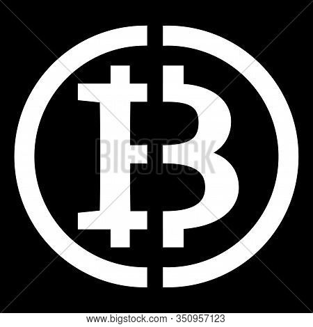 Bitcoin Cryptocurrency Divided In Half - Bitcoin Halfing, A Symbol Of The Upcoming Split In Half. Bi