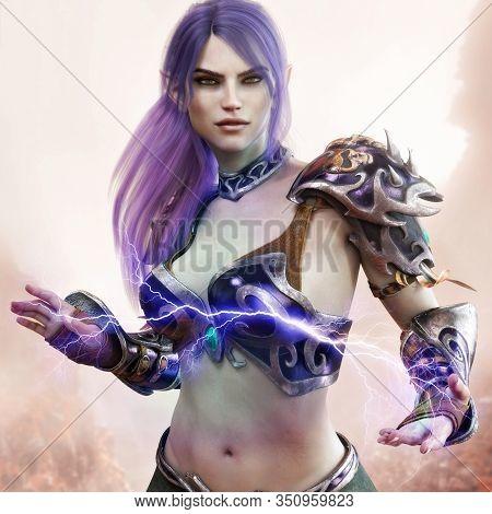 Portrait Of A Fantasy Dark Elf Female Warlock Displaying Her Mystic Power. 3d Rendering . Fantasy Ba