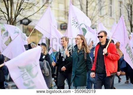 Vilnius, Lithuania - April 6, 2019: People Participating In Physicists Day (fidi), A Humorous Event