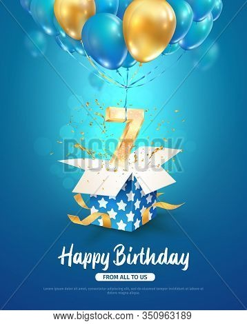 Celebrating Of 7 Th Years Birthday Vector 3d Illustration. Seventh Anniversary Celebration. Open Gif