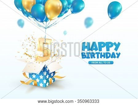 Celebrating Of 5 Th Years Birthday Vector 3d Illustration. Fifth Anniversary Celebration. Open Gift