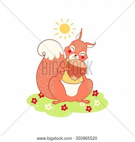 Squirrel Vector Cute Animal On A Sunny Meadow With A Nut In Her Paws. Cute Lovely Animalistic Illust
