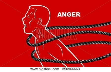 Shouting And Screaming Man Trying To Break The Rope Struggling For Freedom, Fight And Liberate Conce