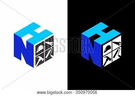 Cubic Font N H With Home Renovation Logo Sign Symbol