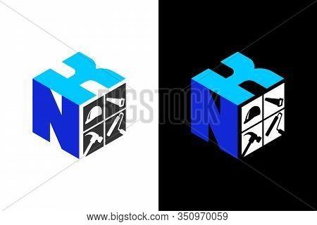 Cubic Font N K With Home Renovation Logo Sign Symbol