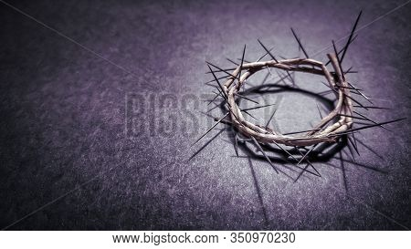 Lent Season,holy Week And Good Friday Concepts - Photo Of Crown Of Thorns In Purple Vintage Backgrou