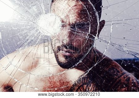 Anger. Destruction. Bullet Hole In Glass. Broken Glass Because Of Hit. Crush Test. Theft. Emotional