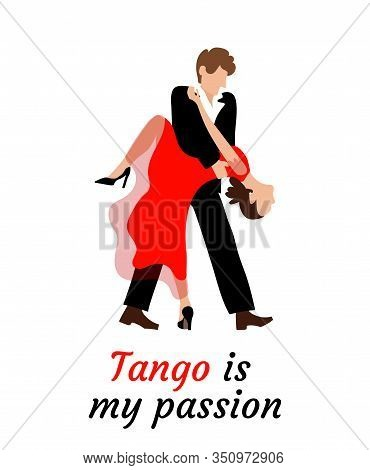 Passionate Couple Performs A Tango Dance. A Young Woman And A Man Are Dancing. The Girl Is Wearing A