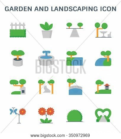Garden And Landscaping Icon Set For Landscaping Graphic Design Element.