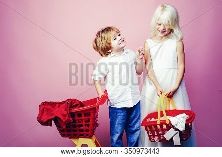 Cute Buyer Customer Client Hold Shopping Cart. Buy With Discount. Girl And Boy Children Shopping. Co