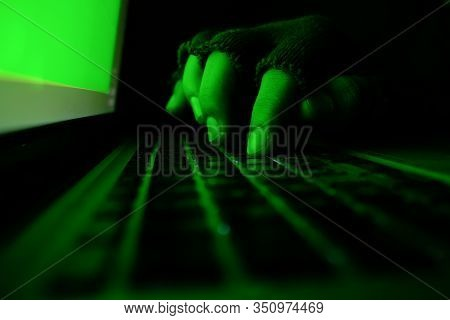 Hacker Hand Stealing Data From Laptop, Cyber Crime