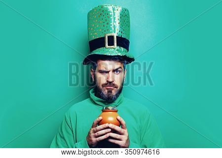 Happy St Patricks Day Concept With Pot Of Gold. Pot With Money For St. Patricks Day. Patricks Day Po